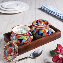 Unravel India ceramic Handi set (Set of 2) with... - $27.00