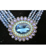 Heidi Daus Dazzling Delight Necklace & Clip On Earrings Set Montana - $173.25