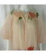 VAN RAALTE Vintage 1950s Soft Peach NYLON BED JACKET Size M Lace Rose Ap... - $79.15