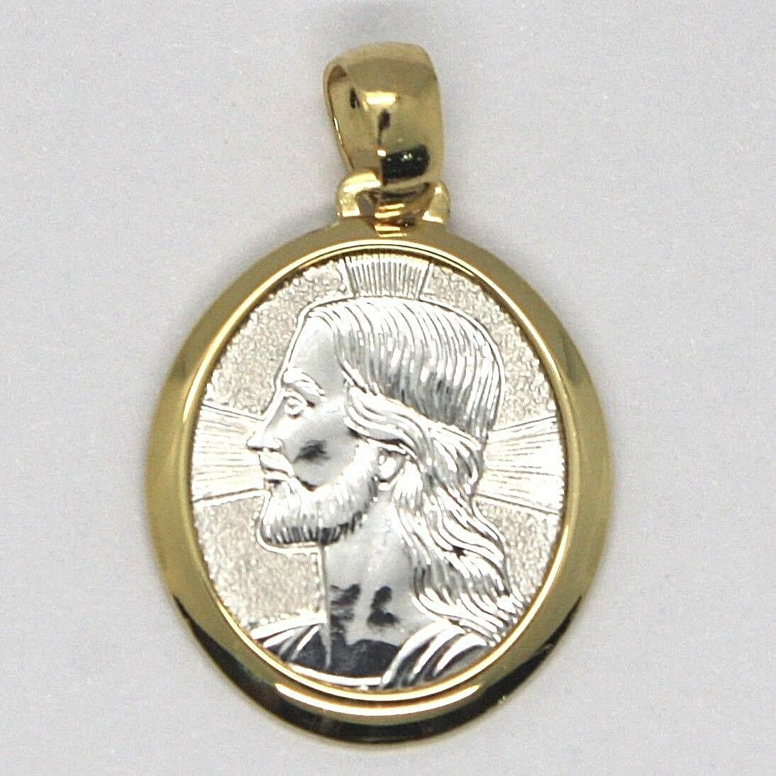 18K YELLOW & WHITE GOLD PENDANT OVAL MEDAL JESUS FACE ENGRAVABLE MADE IN ITALY