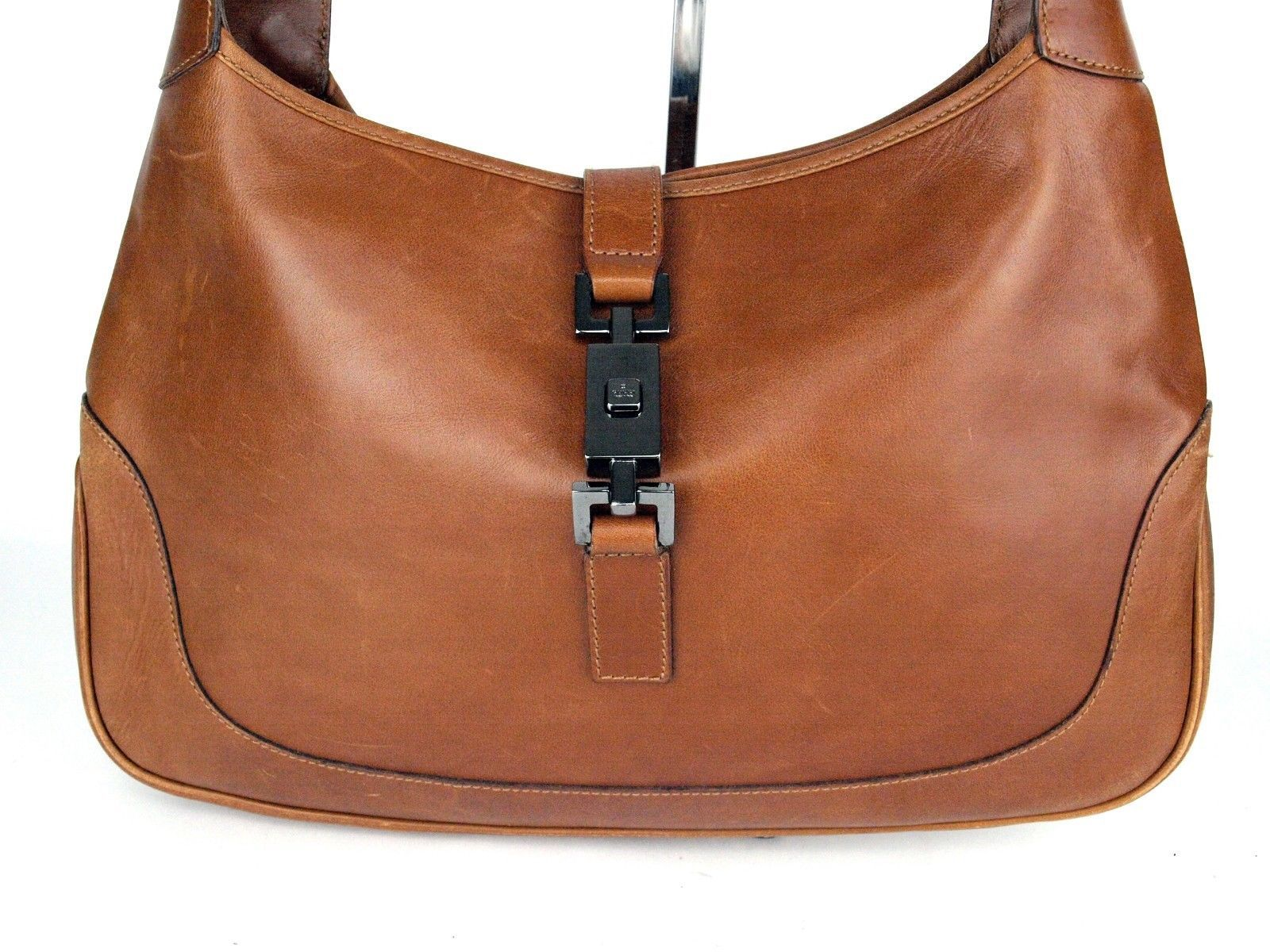Auth Gucci Brown Leather Silver Piston Lock Hobo One Shoulder Bag Purse Italy