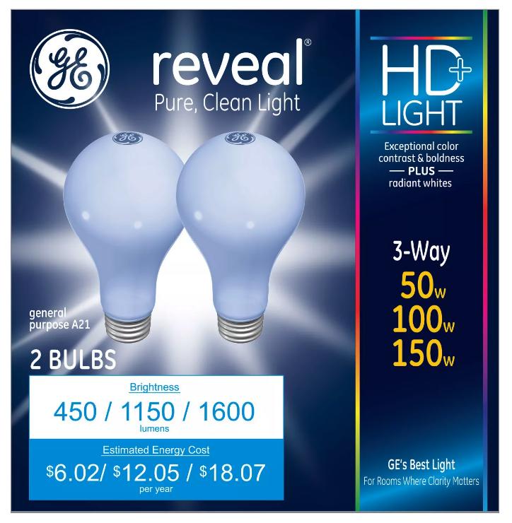 2 GE Lighting 3-Way Reveal HD+ Light Bulb 50/100/150-Watt A21 Incandescent NEW