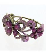 Vintage Style Purple CZ Crystal Butterfly Cuff Bracelet Charm - $9.79