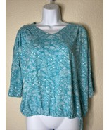 Chico's Womens Size 0 Blue Floral Pattern Tie Blouse 3/4 Sleeve V Neck - $19.80