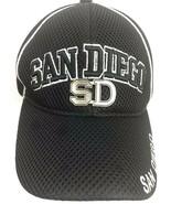 San Diego Black Hat Baseball Cap Mesh Embroidered Metat SD Adjustable Ac... - $24.74