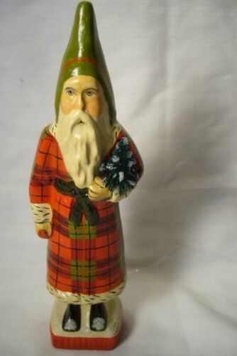 Vaillancourt Folk Art, Skinny Flannel Santa  with Tree singed by Judi!