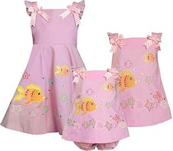 Bonnie Jean Little Girl 2T-6X Pink Fish Applique Fit Flare Cotton Dress image 2