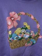 Vintage 90s Hanes Kids Purple Sweatshirt Iron On Easter Basket Sz. 7-8 K31 - $11.29