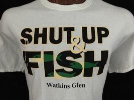 Watkins Glen Shut Up & Fish New York White Graphic T Shirt 100% Cotton 2XL XXL - $13.30