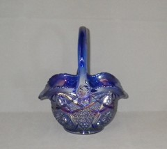 Smith Blue Carnival Glass Basket Vibrant Iridescent Glass - $35.00