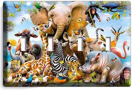 African Jungle Animals 4 Gang Light Switch Wall Plate Baby Nursery Room Hd Decor - $17.99