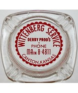 Vintage glass ashtray WITTENBERG SERVICE Derby Products gas oil Canton K... - $4.99