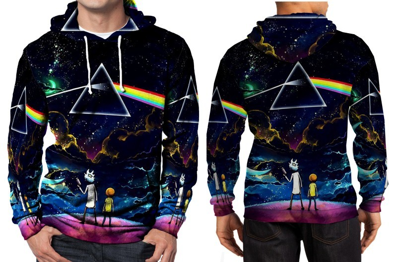 Pink floyd and rick morty hoodie fullprint men