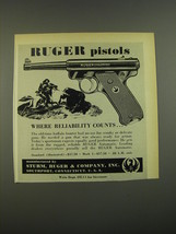 1952 Ruger Automatic Pistol Ad - Where Reliability counts - $14.99