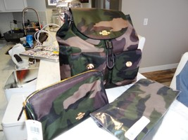 Coach Nylon Backpack, Pouch, & Scarf In Camo - Gift Set Combo Value 595.... - $299.99