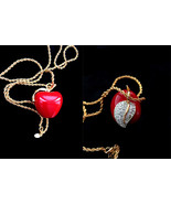 Vintage KJL Kenneth Jay Lane Chunky 3D Red Lucite Apple Swarovski Pendan... - $95.00