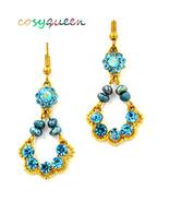 Beautiful women aquamarine rhinestone floral drop hook pierced earrings - $19.00