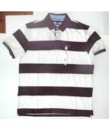 Tommy Hilfiger Mens Polo Shirt Striped Burgandy White Size XLarge NWT - $38.79