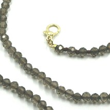 """18K YELLOW GOLD NECKLACE 39.5"""" 100cm, FACETED BROWN SMOKY QUARTZ DIAMETER 3mm image 2"""