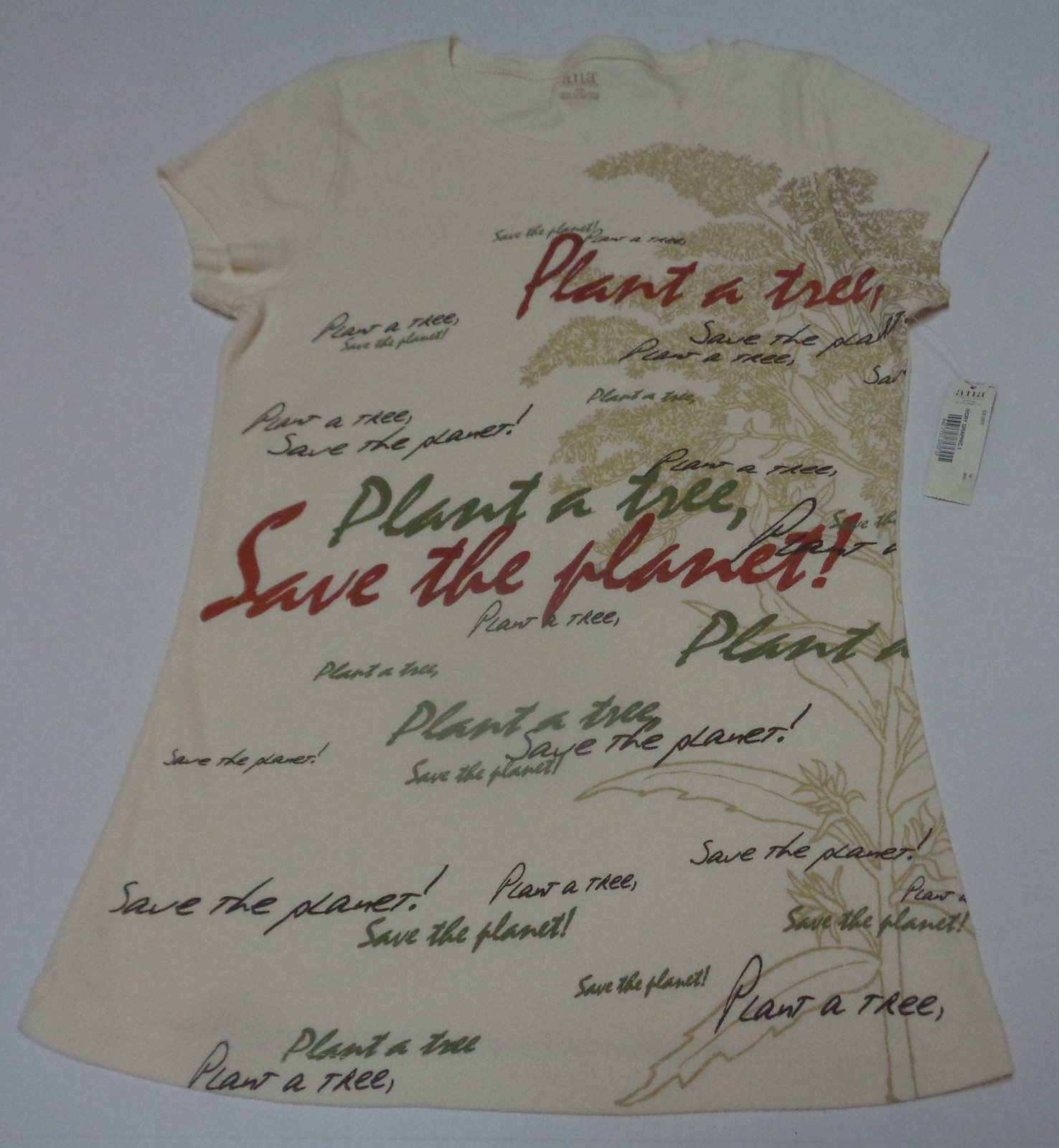 ANA T-Shirt Women's M Ivory NWT Plant A Tree Save The Planet SZ MM