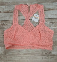 Free People Womens Small Deco Pink Galloon Lace Racerback Bralette OB590924 - $11.88