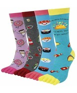 HAPPYPOP 4 Pairs Fun Food Five Finger Socks 6-12 Gift Box Sushi Donuts T... - $23.75