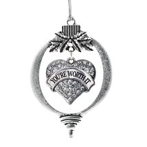 Inspired Silver Your Worth It Pave Heart Holiday Ornament - $14.69