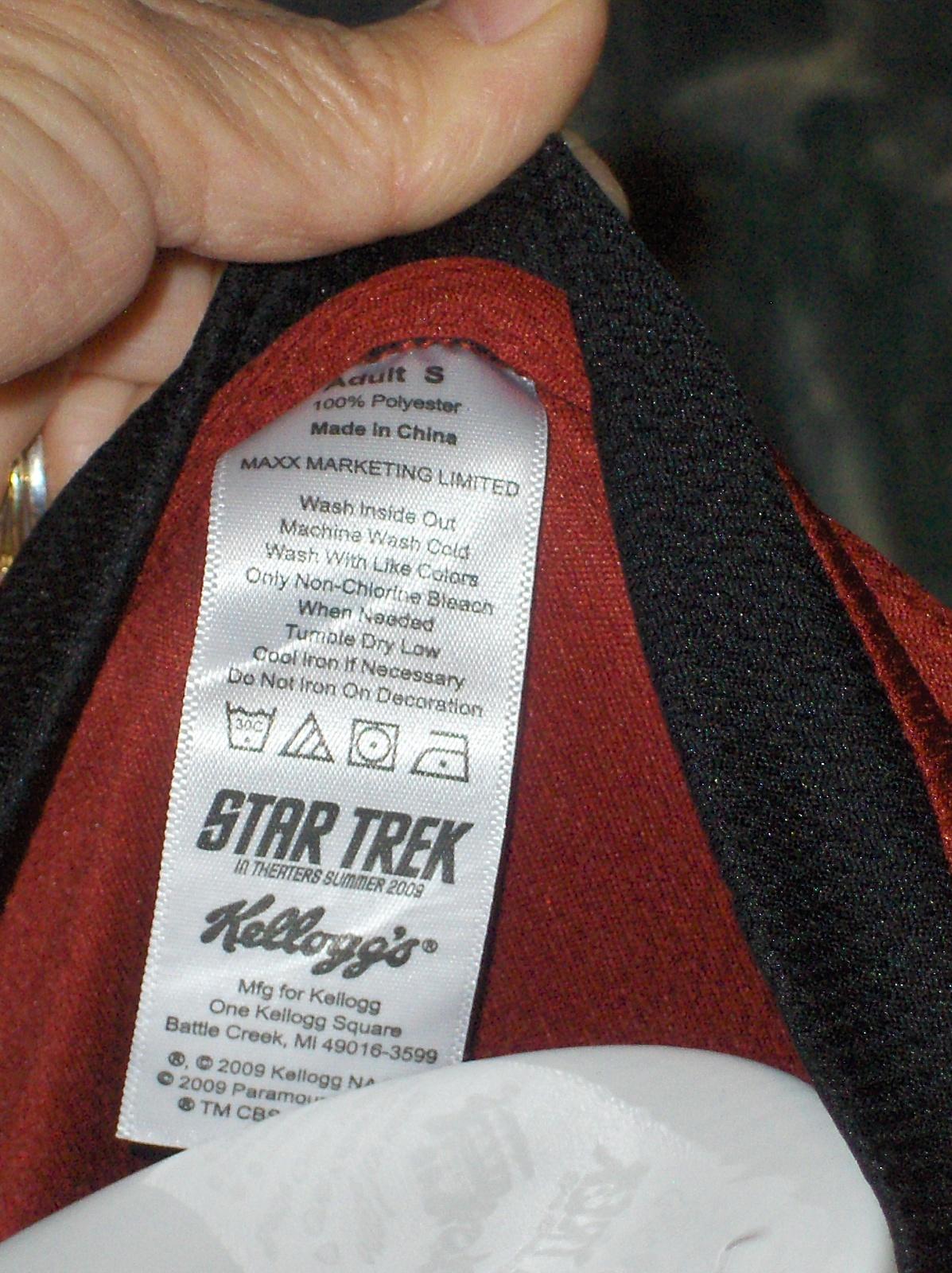 Kellogg's Star Trek Red T-Shirt Unisex Size Large  2009