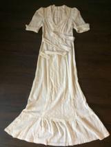 Vintage Sz 8 Ivory Lace Delicate Hippie Boho Chic Tie Waist Summer Cospl... - $108.20