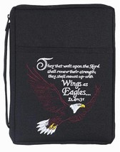 Black Bald Eagle 8.5 x 10.5 Embroidered Polyester Bible Cover Case with ... - $77.71
