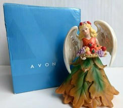 "Avon Angel Figurine ""Autumn Leaves"" Joyful Flowers Series 6"" 2006 With Box - $27.99"