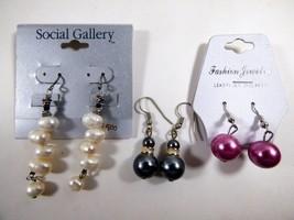 Lot of 3 fashion silver tone metal pink black white potato pearl dangle ... - $23.76