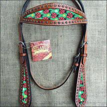 Hilason Western Horse Headstall Bridle American Leather Mahogany Ladybir... - $63.31