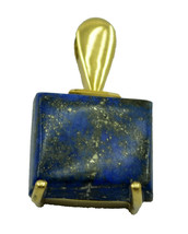 comely Lapis Lazuli Gold Plated Blue Pendant Natural handcrafted US gift - $14.84