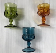3 Pc Indiana Glass Kings Crown Carnival Footed Compote Mini Goblet Multi Color - $29.99