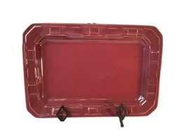 "Longaberger Paprika  Appetizer Plate Platter Woven Tradition Maroon 13""x9"" - $29.99"