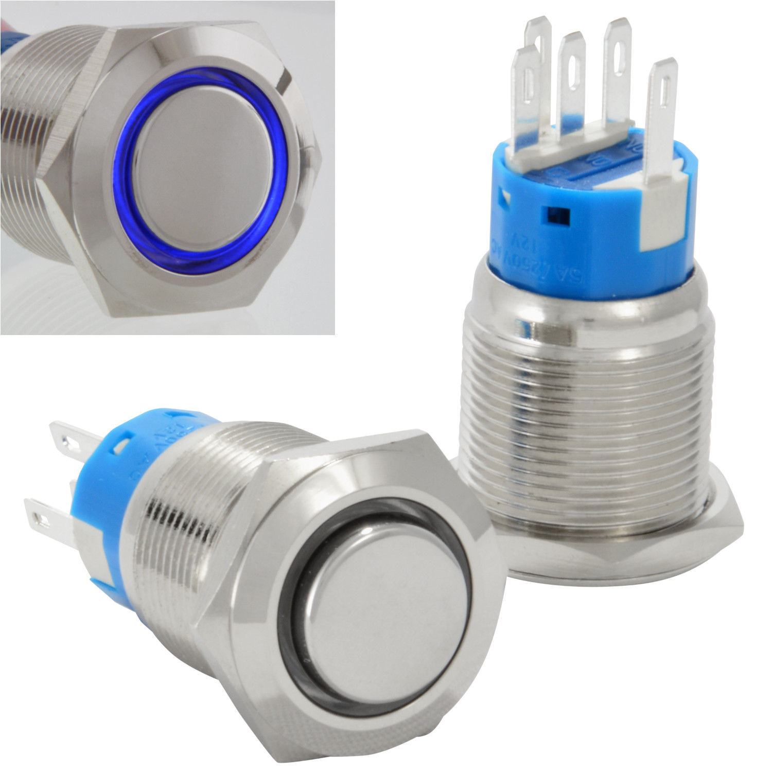 19mm Latching Push Button Power Switch And 42 Similar Items Pushbuttons Momentary On Off In Blue White Stainless Steel W Led Waterproof