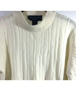 Norton McNaughton Petite Medium Cable Knit Sweater Ivory White - $28.70