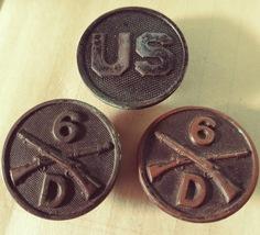 WWI COLLAR DISK INSIGNIAS, U.S. & 2 INFANTRY D 6th Regiment - $45.00