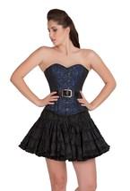 Blue Black Brocade Leather Goth Burlesque Basque Skirt Overbust Corset Dress - $65.47