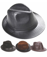 New Men's 100% Real Cowhide Leather Black Bucket Cap/ Fedora hat /Gentle... - $15.83+