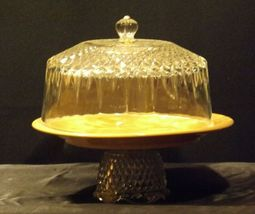 Ceramic Cake Plate and Crystal Cover Heavy AA19-LD11936 Vintage image 9