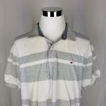 Tommy Hilfiger Gray White Stripe Short Sleeve Polo Shirt XL - £20.15 GBP