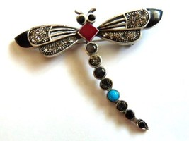 Art Deco Look Dragonfly Pin Jet Rhinestone Crystal Turquoise Brooch Butt... - $18.76