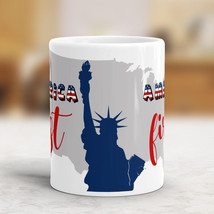 July 4th America First Coffee Mug America Map and Statue of Liberty  - £9.65 GBP
