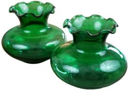 Mini Fluted Vases Set Green Tinted Glass Rippled Vintage Candle Holder V... - $3.99