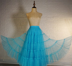 Blue Glitter Maxi Tulle Skirt Outfit Tiered Sparkle Tulle Skirt A-line Plus Size image 2