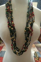 "Joan Rivers Glass Beaded Necklace 37"" Multi Strand Color Lobster Catch D... - $28.71"