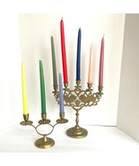 Vintage Candelabras Brass Lions Tigers Embossed Candle Holders Candlesticks - $37.12