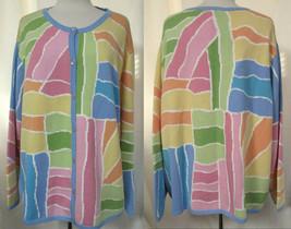 TALBOTS WOMAN Mullticolor Pastels Button Front Cotton Cardigan Sweater P... - $31.35